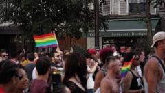 Protest Crowd street Gay Pride, Paris 2015 - 60fps Stock Footage