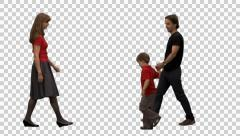 Happy little boy with his parents, Full HD footage with alpha channel Stock Footage
