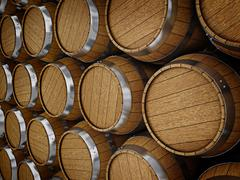 Stock Illustration of Wooden oak brandy wine beer barrels rows
