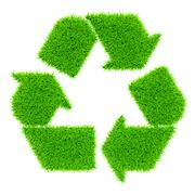 Ecology eco conservation recycling concept - green recycling symbol made of g - stock illustration