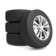 Set of car winter tires isolated on white background Stock Illustration