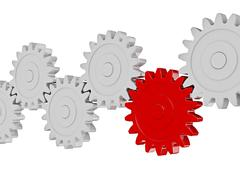 Teamwork success leadership cooperation partnership concept: gear cogwheels i - stock illustration