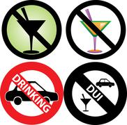 No Drinking Sign  - stock illustration