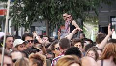 Crowded street Protest Gay Pride, Paris 2015 Stock Footage