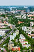 Aerial view of Munich from Olympiaturm (Olympic Tower). Munich, Bavaria, Germ - stock photo