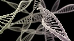 DNA chains close up on the black background - stock illustration