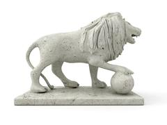 Marble statue of a lion (right view) - stock illustration