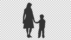 Silhouette of a woman standing with her son, Full HD footage with alpha channel - stock footage