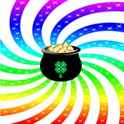 Rainbow Sparkle Pot - stock illustration