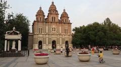 Area near the Historic Catholic St. Joseph's Cathedral, Beijing Stock Footage