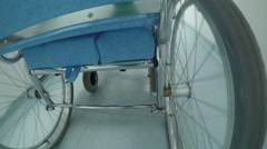 Point of view of Standard manual wheelchair, the most frequently used wheelchair - stock footage