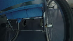 Point of view of Standard manual wheelchair, the most frequently used wheelchair Stock Footage