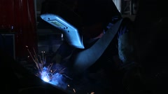 Welding operator in a fabric Stock Footage