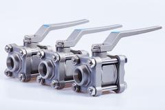 Row from three ball valve Stock Photos
