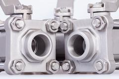 Three ball valve on white background Stock Photos