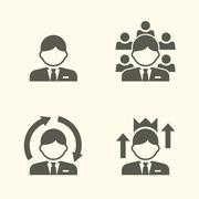 Office guy portrait icons Stock Illustration