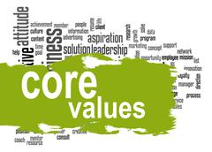 Core values word cloud with green banner - stock illustration