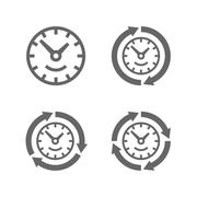 Clocks with arrows as a symbol of run of time - stock illustration