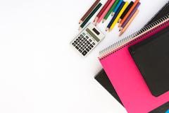 School suplies. Back to school. Stationery isolated on white Stock Photos