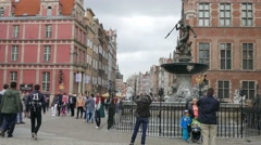 Gdansk, Poland. Famous Neptune fountain in the old town. Stock Footage