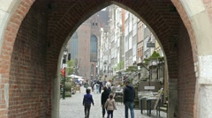 Gdansk, Poland. View from the gate in the old town to Mariacka street Stock Footage
