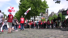 Demonstrators and pedestrians in Old Town market square in Cologne - stock footage