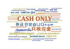 Cash only multilanguage wordcloud background concept Stock Illustration