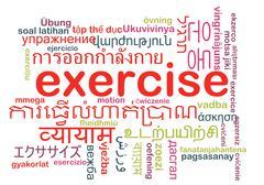 Exercise multilanguage wordcloud background concept Stock Illustration