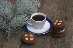 Mug of black coffee in Christmas subject Stock Photos