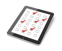 Generic tablet PC with checkboxes Stock Illustration