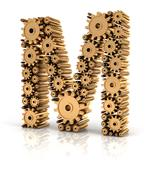 Alphabet M formed by gears Stock Illustration