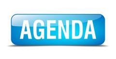 agenda blue square 3d realistic isolated web button - stock illustration