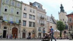Market square, Lviv, Ukraine Stock Footage