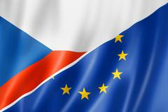 Czech Republic and Europe flag - stock illustration