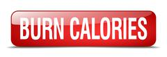 burn calories red square 3d realistic isolated web button - stock illustration