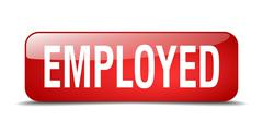 Employed red square 3d realistic isolated web button Stock Illustration