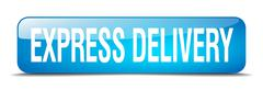 express delivery blue square 3d realistic isolated web button - stock illustration