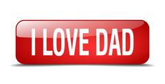 i love dad red square 3d realistic isolated web button - stock illustration