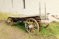 Retro wooden cart.Toned image. - stock photo