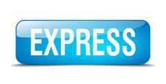 express blue square 3d realistic isolated web button - stock illustration