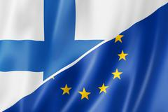 Finland and Europe flag - stock illustration