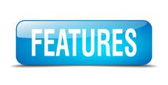 Features blue square 3d realistic isolated web button Stock Illustration