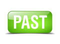 past green square 3d realistic isolated web button - stock illustration