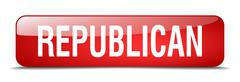 Republican red square 3d realistic isolated web button Stock Illustration