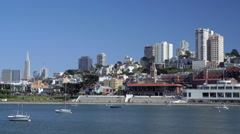 San Francisco Skyline from Pier Ghirardelli Factory Stock Footage