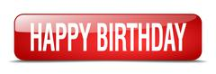 happy birthday red square 3d realistic isolated web button - stock illustration
