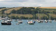 Dartmouth River Dart Estuary with Boats in South Devon Stock Footage