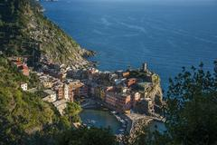 Aerial view of Cinque Terre cityscape and ocean cliffs, Liguria, Italy Kuvituskuvat