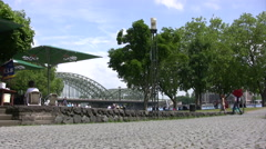 Pedestrian area near river in central Cologne Stock Footage