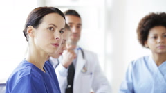 group of meeting at seminar in hospital - stock footage